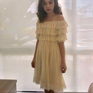 Jean Paul Gaultier Cream Ruffle Mesh Dress SZ S